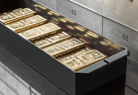 Custodian Vaults safety deposit box with gold bullion stacked inside